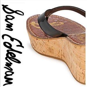 💕SALE💕 Sam Edelman Romy Black Cork Wedge Sandals